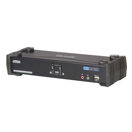 Aten CS1782A ATEN DVI KVM Switch mit 7.1 Audio, NVIDIA 3D, USB, 2-fach, Desktop, mit Anschlusskabeln